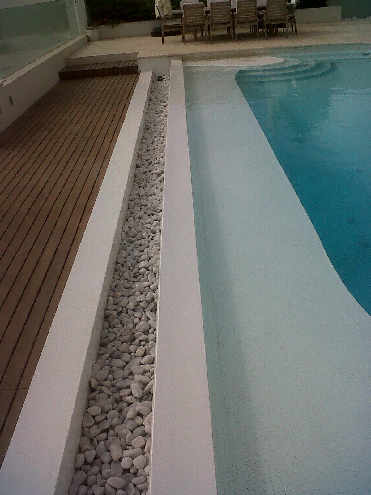 Poolside custom made overflow gutter